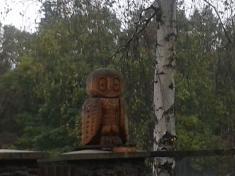 V lesním hospodářství nás přivítala nádherná dřevěná paní sova.